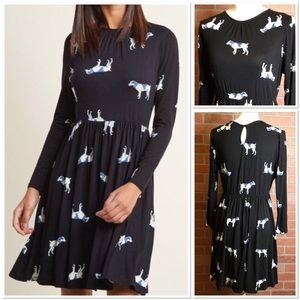 ModCloth women's dress size L dog print (JJ53)